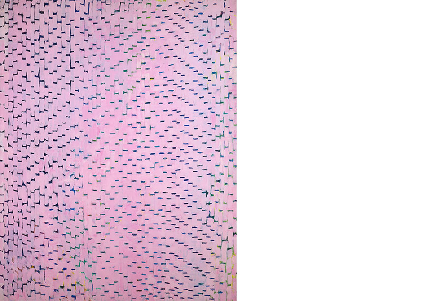 Pink hues on vertical canvas with darker spots
