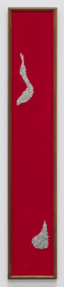 Red vertical panel with velour and staples on wood