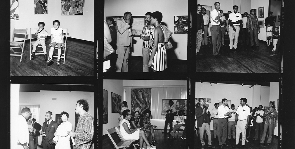 A black and white contact sheet with images from a party at the Studio Museum in the late '60s.