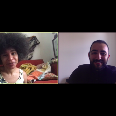 A screenshot of a ZOOM Conference, in the left frame, an image of  Daonne Huff and the right frame of Ilk Yasha.